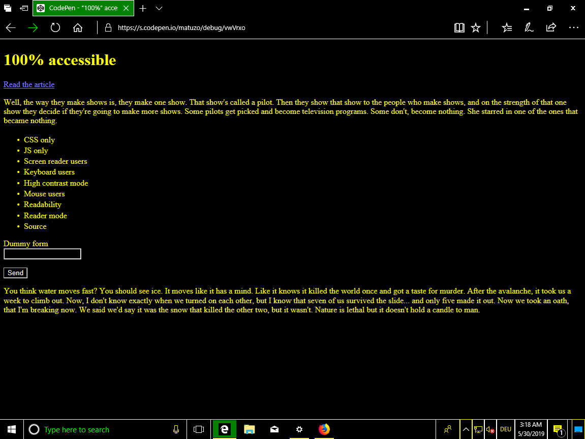 Windows with high contrasting colors. Black background and yellow text.