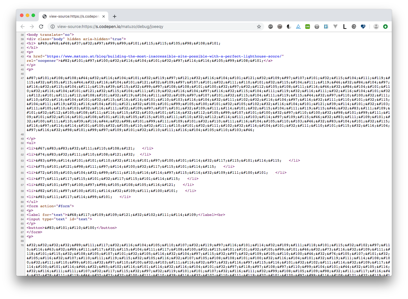 Text is not readable when viewing the source because it's written in HTML entities